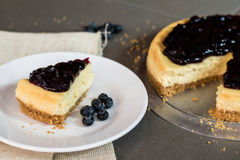 Piece of freshness delicious blueberry cheese cake on plate Royalty Free Stock Photography
