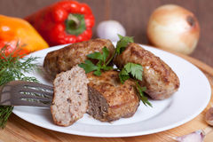 Piece of fried cutlets with parsley on the plate Stock Image