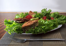 A piece of fried fish fillett served on blue glass table with lettuce, lime, tomato and herbs Royalty Free Stock Photo