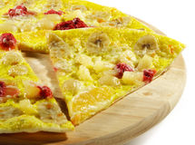 Piece of Fruit and Berry Pizza. On a Wood Tray Royalty Free Stock Photos