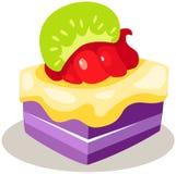 Piece of fruit cake. Illustration of isolated piece of fruit cake on white Stock Image