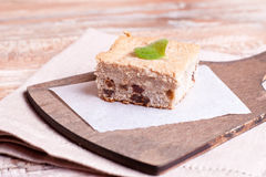 Piece of fruit cake. Close up, horizontal Royalty Free Stock Photos