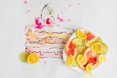 Piece of fruit cake with fresh cherries drawn by watercolor. With plate full of fruit slices over white background Stock Photography