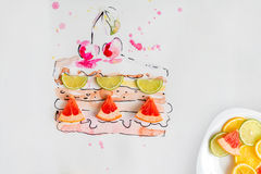 Piece of fruit cake with fresh cherries drawn by watercolor. With plate full of fruit slices over white background Royalty Free Stock Photography