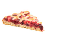 A piece of fruit pie. On a white background Stock Images
