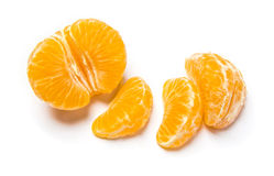Piece of fruit. Of tangerine with leaves and guys Royalty Free Stock Image