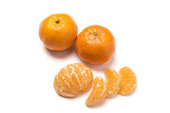 Piece of fruit. Of tangerine with leaves and guys Stock Photography