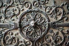 A piece of the gate of Notre-Dame Cathedral stock image