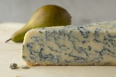 Piece of Gorgonzola picante cheese close up Stock Images