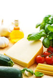 Cheese and pasta ingredients Stock Images