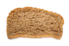 Piece of grain bread isolated on white background Stock Images