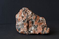 Granite mineral on black stock photo