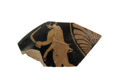 Piece of a Greek vase painting with human. Original royalty free stock images