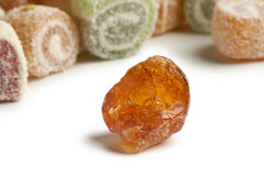 Piece of Gum arabic and turkish delight stock image