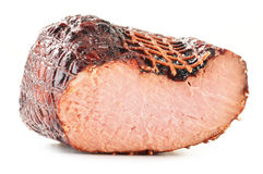 Piece of ham on white Stock Photos