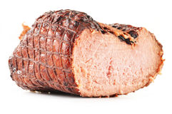 Piece of ham on white Royalty Free Stock Image