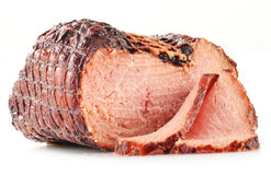 Piece of ham on white Stock Photography