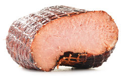 Piece of ham  on white Stock Image