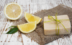 Piece of handmade lemon soap Royalty Free Stock Photos