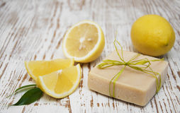 Piece of handmade lemon soap Royalty Free Stock Image