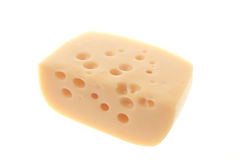 Piece of hard cheese. Isolated on white background royalty free stock photos