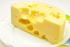 Piece of hard cheese Stock Image