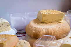 Piece of hard cheese Stock Images