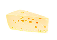 Piece of hard cheese on white background Stock Photos