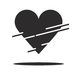 A piece of heart. And lines black colored stock illustration