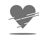 Piece of heart. A piece of heart and lines grey colored vector illustration