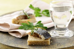 Piece of herring on rye bread Stock Images