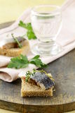 Piece of herring on rye bread Royalty Free Stock Image
