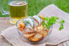 Piece of Herring on a Stick and Beer Royalty Free Stock Photos