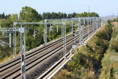 Piece of high speed railway track stock photos