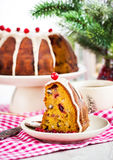 Piece of holiday bundt cake Royalty Free Stock Photos