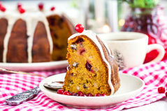 Piece of holiday bundt cake Stock Images