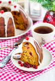 Piece of holiday bundt cake Royalty Free Stock Images