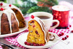 Piece of holiday bundt cake Royalty Free Stock Photography