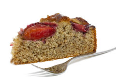 A piece of home made German plum cake Stock Photo