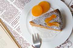 A piece of homemade apricot pie on the white plate Stock Images