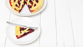 Piece of homemade berry pie. Copyspace. Royalty Free Stock Photos