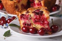Piece of homemade cherry pie on a plate macro. Horizontal Royalty Free Stock Photo