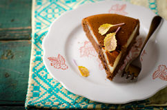 Piece of homemade chocolate cake with pears and chocolate drops Royalty Free Stock Photography