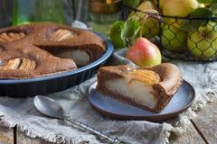 Piece of homemade chocolate tart with frangipane and pears Stock Photo