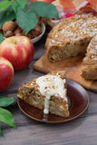 Piece of homemade fresh apple pie, vertical Royalty Free Stock Photography