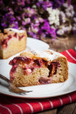 Piece of homemade fresh plum cake. Royalty Free Stock Photos
