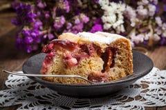 Piece of homemade fresh plum cake. Royalty Free Stock Photography