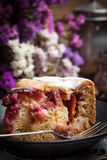 Piece of homemade fresh plum cake. Royalty Free Stock Photo