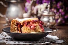 Piece of homemade fresh plum cake. Stock Photos