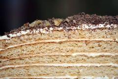 A piece of homemade honey cake closeup Royalty Free Stock Photo